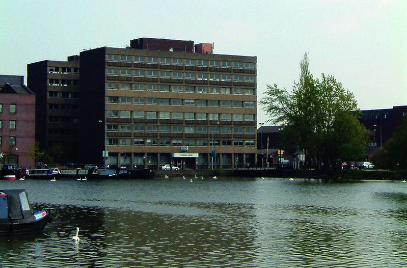 Lincoln's 1970s Witham Wharf office block before conversion.