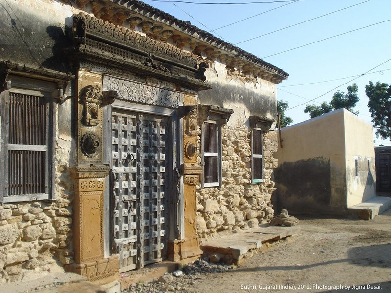 A damaged house in the village of Nirona in Gujarat, India in 2014.