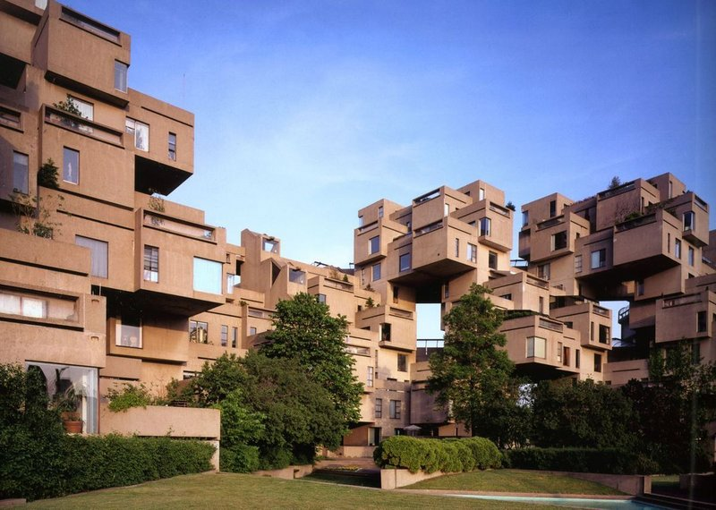 View from the courtyard at Moshe Safdie's Habitat67 Montreal.