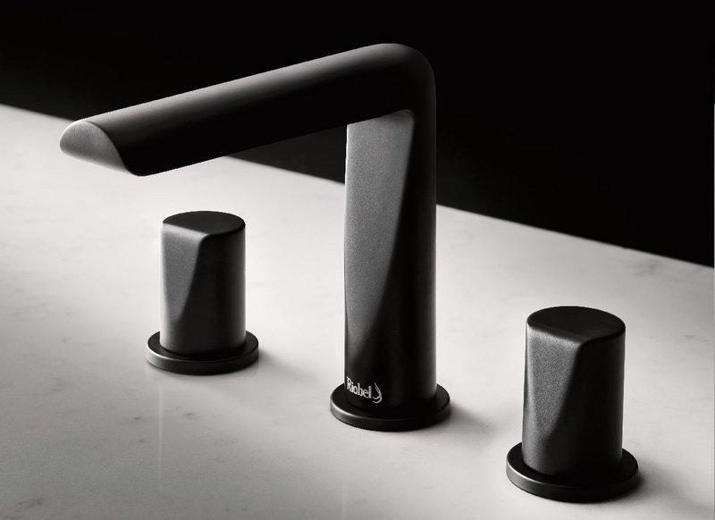 Riobel Parabola three-hole basin mixer tap in Black.