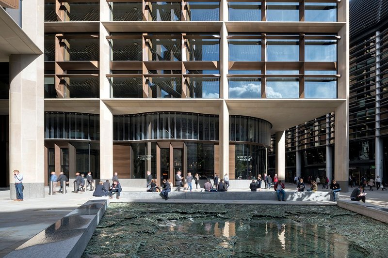 Bloomberg has commissioned world famous artists to develop integrated and applied art for the building. Here is one part of Christina Inglesias' Forgotten Streams, a piece that evokes the lost Walbrook River, on one of the new public squares.