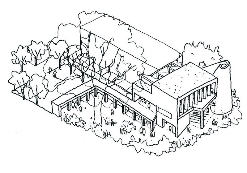 Latest in a line  of churches is this 'paper  scroll' design with cloister, and  an associated community centre and housing, in the home counties