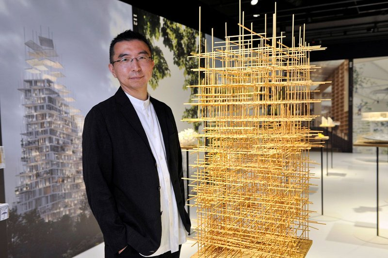 Sou Fujimoto, acclaimed Japanese architect, inspects one of 100 exhibits on display in his exhibition Futures of the Future at Japan House London
