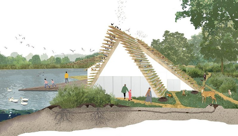 PiM's proposed visitor centre at a nature reserve in Sevenoaks, Kent, is designed to encourage wildlife.