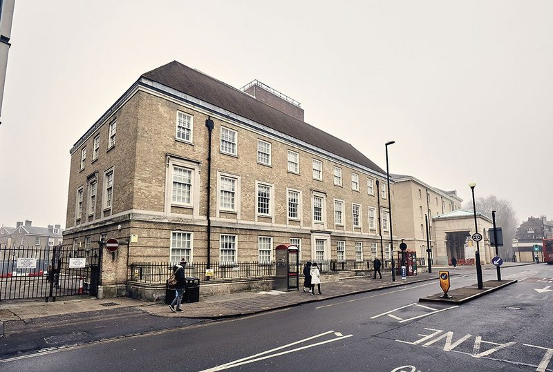 The brick facade and sash windows of the 1930s telephone exchange on Regents Street in Cambridge, ahead of its retrofit..