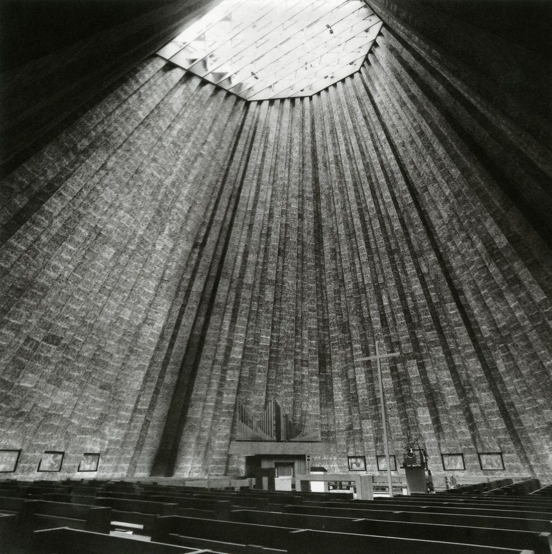 Interior of Léon Stynen and Paul De Meyer's Church of Sint-Rita in Harelbeke (1968).