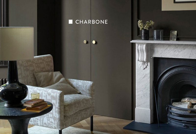 Charbone paint shade from the Monochrome collection originates in the ochre tones of Thames Mud from the Originals collection, both Paint & Paper Library.