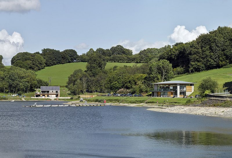 How Llandegfedd Visitor Centre & Watersports Centre work together around this little bay.