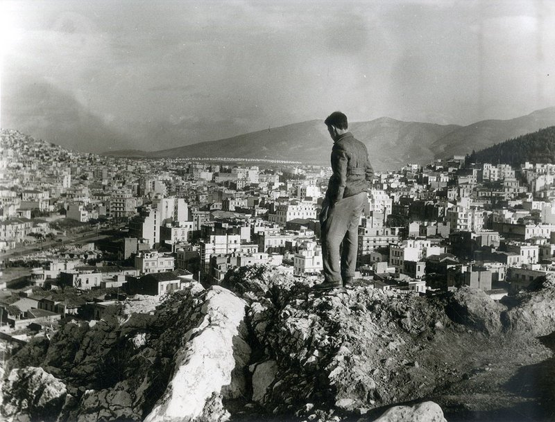 Man contemplating the expansion of the 20th century city, Athens, 1957.