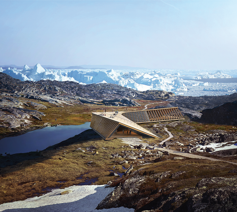 Render of the Icefjord Centre, Ilulissat, Greenland, currently on site 250km north of the Arctic Circle. Its section twists so the roof can also be used as a viewing platform. This and the boomerang plan reduce the snow load by shedding it.