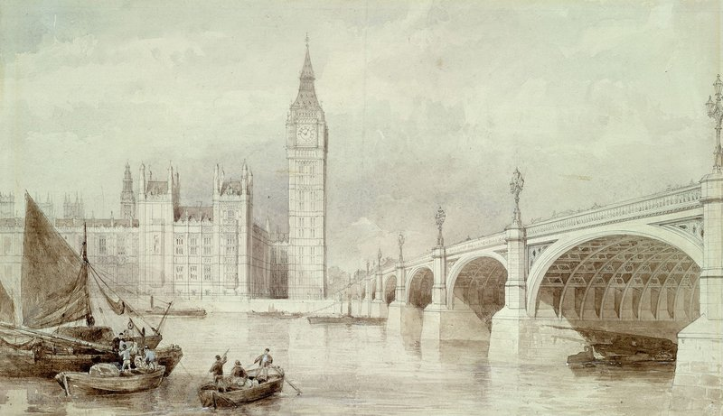 The Houses of Parliament in the early days in 1858, while it was still being built, before the repair bill ramped up.