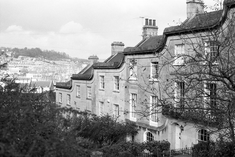 Bath's Georgian architecture stepping athletically down the hill.