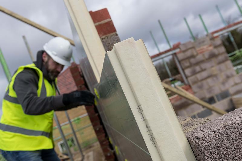Recticel Eurowall+ insulation board: a 90mm slimline alternative to 97mm rigid full-fill products.