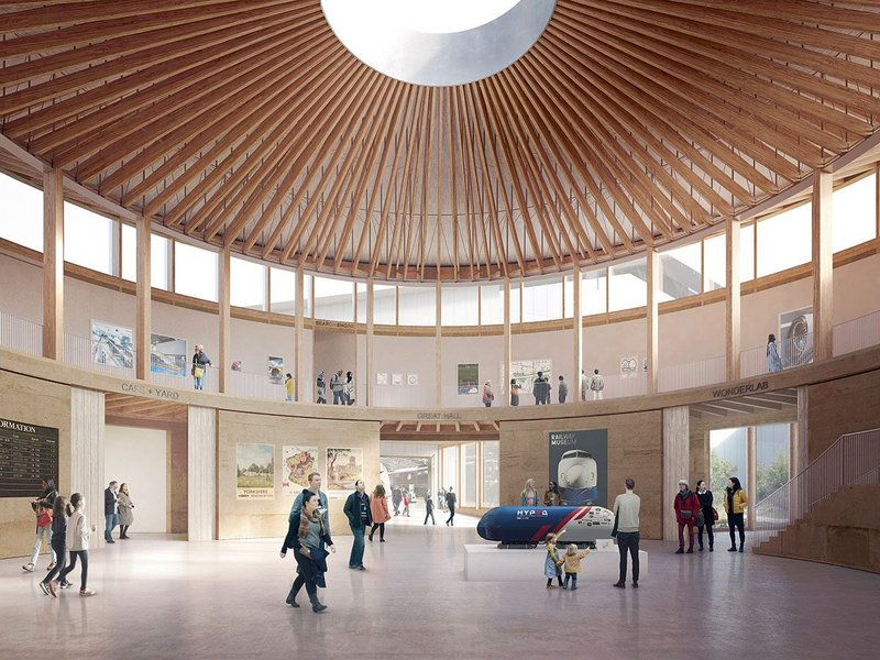 Can low tech design be scaled up? At Feilden Fowles' National Railway Museum York Central Hall a 3500m² timber frame is planned.