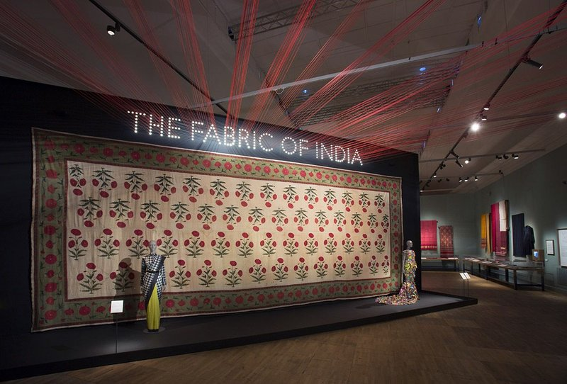 Installation view of The Fabric of India at the V&A.