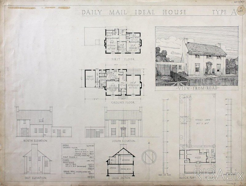 Competition design for the Daily Mail Ideal House Donald Hanks McMorran, 1927. Copyright and courtesy: RIBA Drawings Collection.