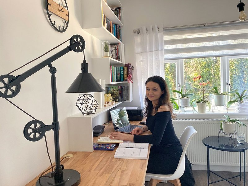 Wiktoria Jarosz, third year student at the School of Architecture, University of Reading, adjusting to working alone from her family's home in London.