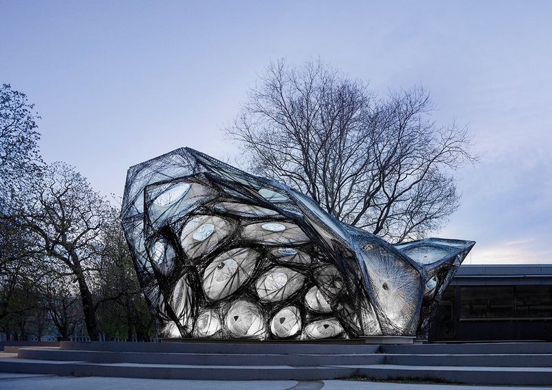 The genesis of the V&A pavilion was its 2013 Stuttgart predessor.