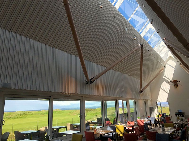 Light and links in perfect harmony: Glazing Vision's Ridgeglaze rooflight opens up to the skies at the Machrie golf club hotel.