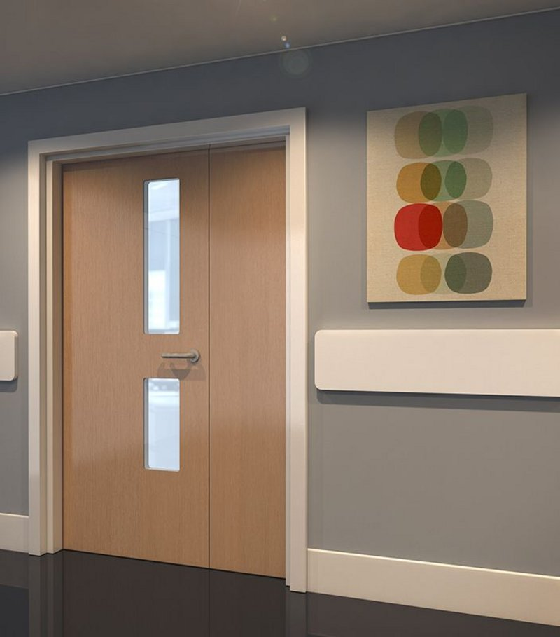 Hygidoor with wood finish