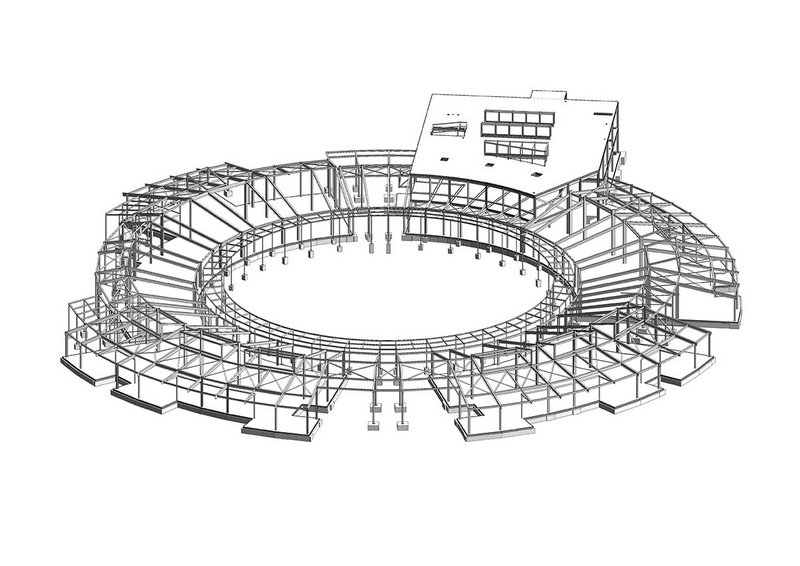 The radial steel structure provides a highly flexible internal layout.