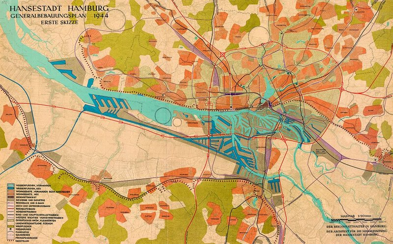German plans for rebuilding Hamburg went way beyond the bomb-damaged areas.