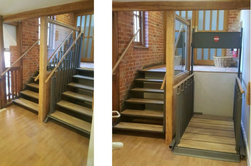 FlexStep at Leeds Castle, Kent gift shop and restaurant. The FlexStep has been installed next to a set of fixed stairs and is shown here in stair (left) and lift (right) modes.