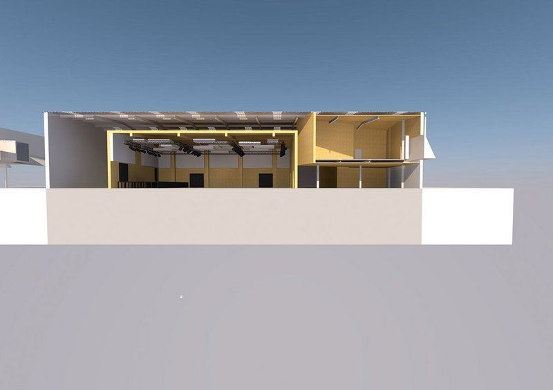 BPN Architects' perspective section clearly illustrates the structural nature of The Box.