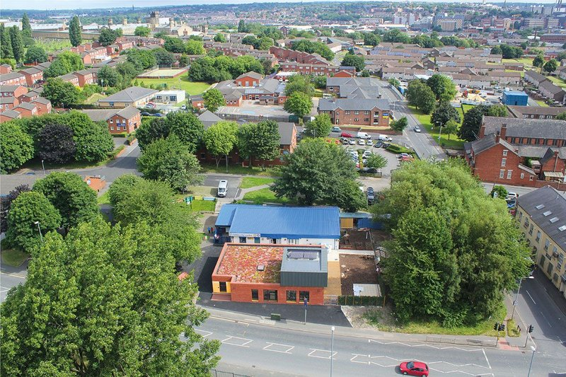 Aerial view of the New Wortley Community Centre in Leeds.