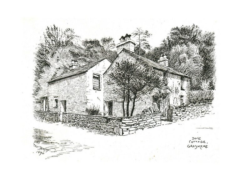Dove Cottage, Grasmere, Wordsworth's home from 1799 to 1808, as pictured in Stopford A Brooke's 1895 pamphlet raising funds for its preservation.