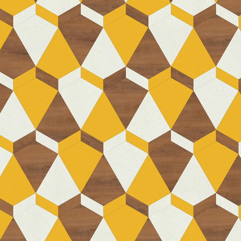 Tongan pattern, chosen as the overall winner by the judges. The design uses a Kite laying pattern with Ashdown Plum, Napoli and Glint Orb products