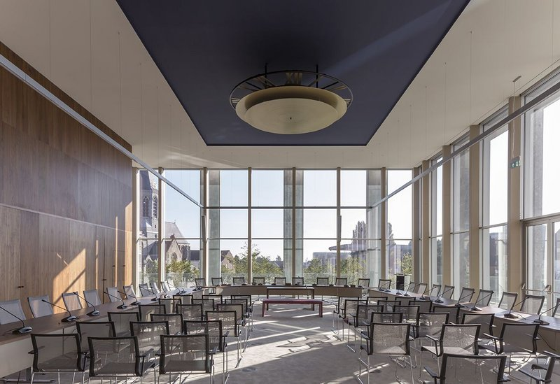 The council chamber is fully glazed on two elevations to overlook the city centre and river. It will also be used for weddings and other public ceremonies.