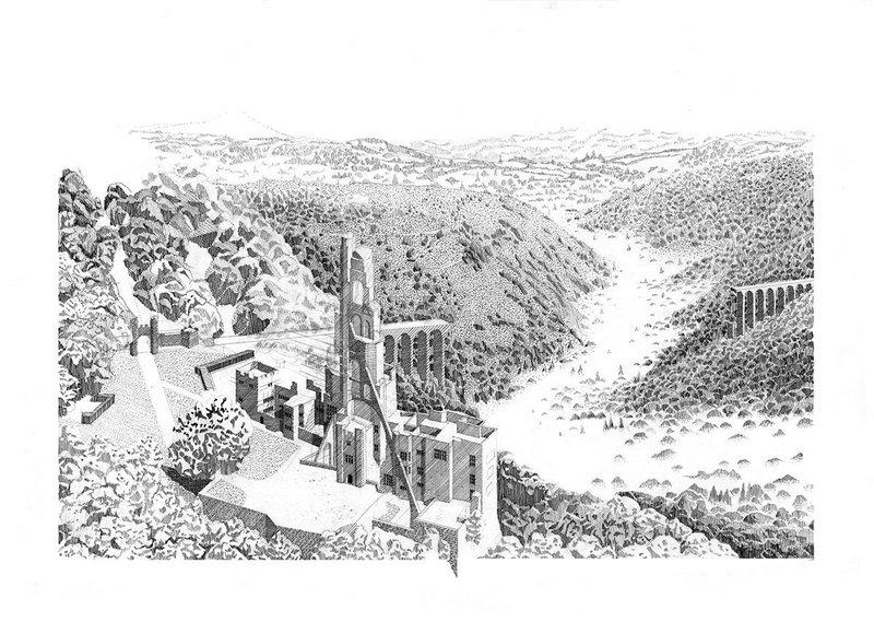 Holding Up: Castle Drogo No.1. Pen & ink on paper. 594 × 420mm