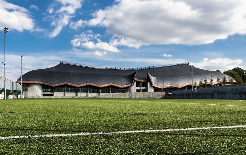 Cupa 5 slate roof tiles at the Pancho Arena stadium in Hungary, designed by Imre Makovecz.