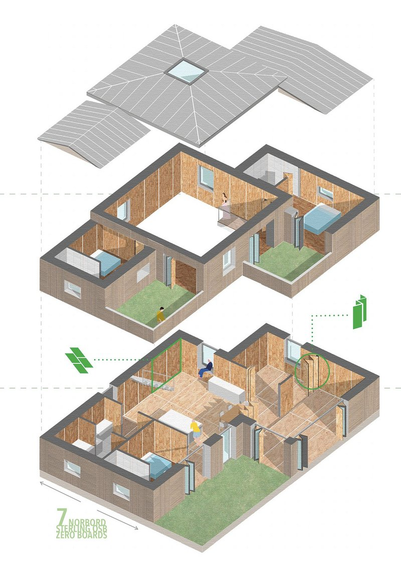 Adhering to Passivhaus standards, heat loss was minimised by optimising the surface area to volume and allowing the building to be modified according to site orientation.