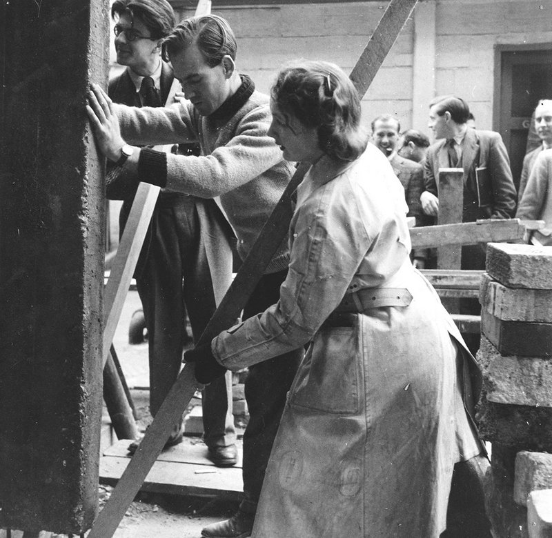 AA students get hands-on with building in the 1940s.