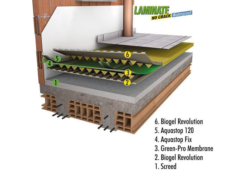 A system designed specifically for waterproof laying on uncured or not perfectly dry substrates.