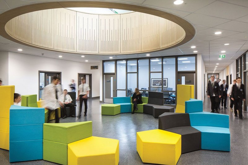 Common breakout areas are well-attenuated to avoid noise contamination at Castle Tower school in Ballymena.