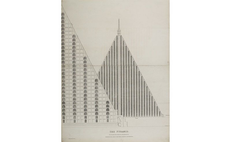 The Pyramid to Contain Five Millions of Individuals Designed for the Centre Of The General Cemetry [sic] of the Metropolis, designed by Thomas Willson, 1829. © London Metropolitan Archives (City of London).