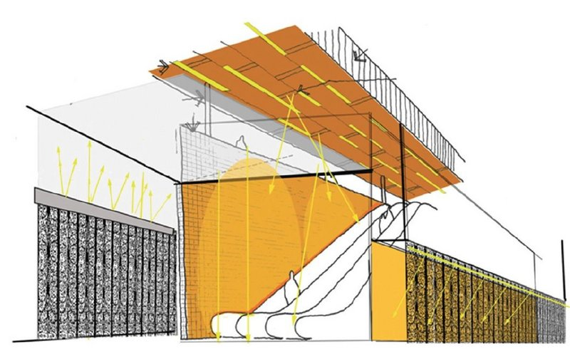 Sketch perspective of the Kraaiennest station, outlining the principles of its lighting strategy.
