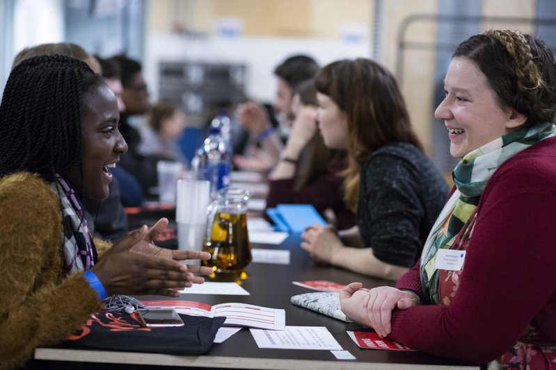 Mentor pairs meet at an Introduction event.
