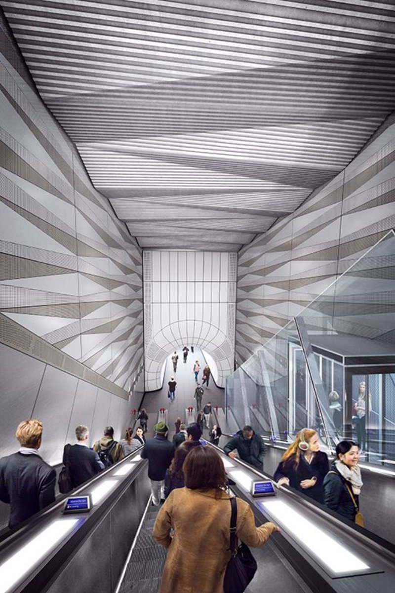 The great descent at Liverpool Street.Crossrail is one of APRES' case studies on ethical sourcing for its attempt to dig down into the supply chain in the many places where certification doesn't exist with a checklist and scoring for suppliers. Designed by Wilkinson Eyre.