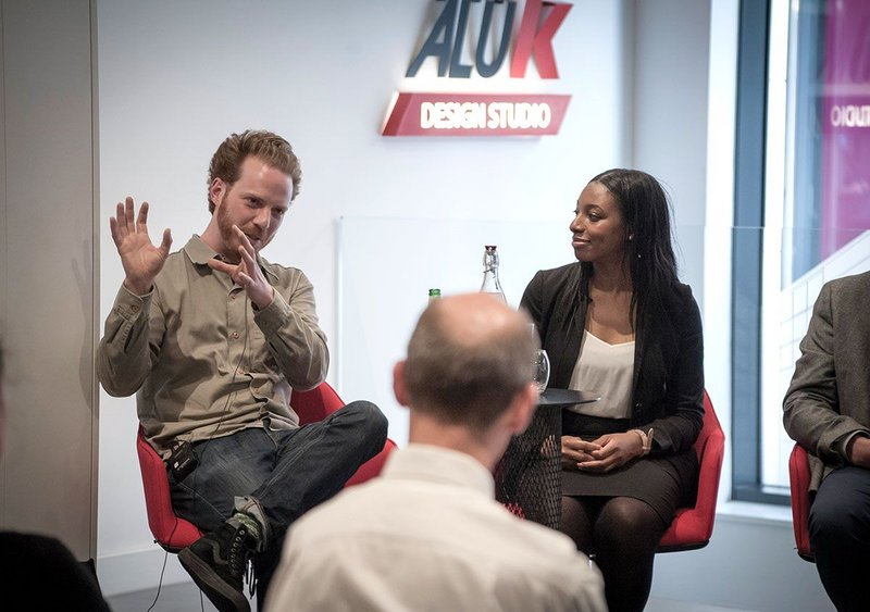 Will Sandy, creative director at The Edible Bus Stop, with Chloe Obi, head of BIM for Bouygues UK, at the second panel debate.