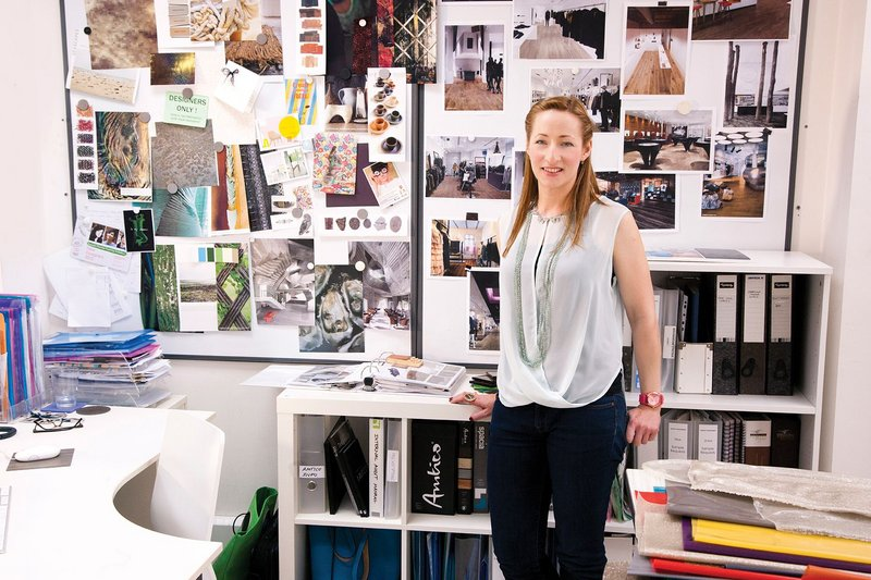 Product designer Karen Quaterman with a mood board.