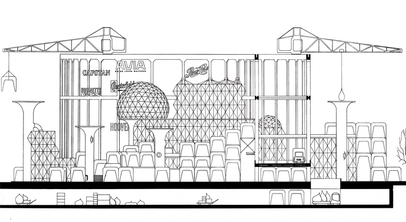Archigram's drawing of the Nottingham Shopping Viaduct in 1962.