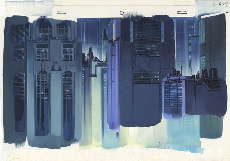 Background illustration for Ghost in the Shell cut 477 by Hiromasa Ogura.