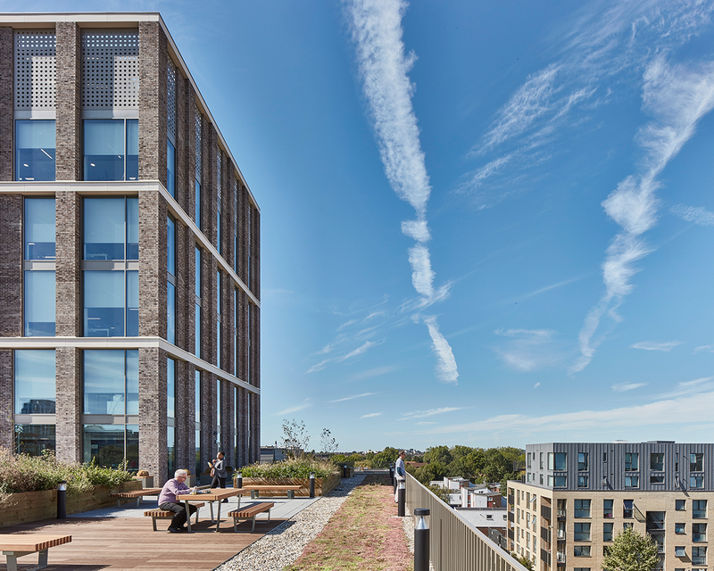 Colindale offices for London Borough of Brent by Hawkins\Brown. The firm is developing its own analytical means of interrogating sites to optimise proposals' environmental performance.