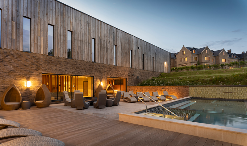 The Spa at South Lodge featuring Vandersanden Lithium facing bricks. The horizontal lines of the brickwork complement vertical oak cladding.