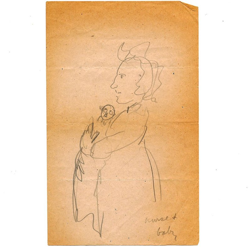 Lutyens' drawing of himself as a baby, nursed by his friend Austen Hall.
