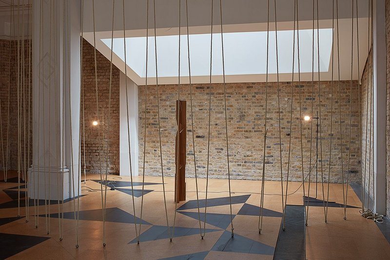 Leonor Antunes: The Frisson of the Togetherness at the Whitechapel Gallery. The ropes are a reference to a staircase at Erno Goldfinger's 2 Willow Road.